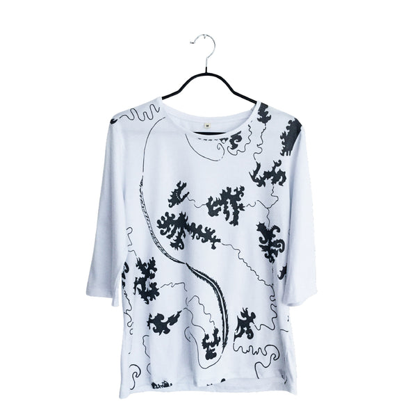 The Path- Artistic Design white lux Long Sleeve Shirt for Women