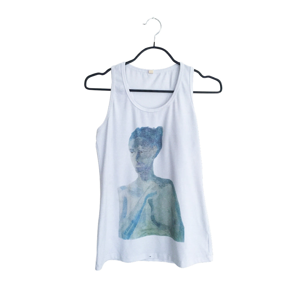 Portrait - Artistic Design white and Tank Top for Women
