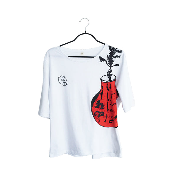 Ikebana- Artistic Design white lux T Shirt for Women