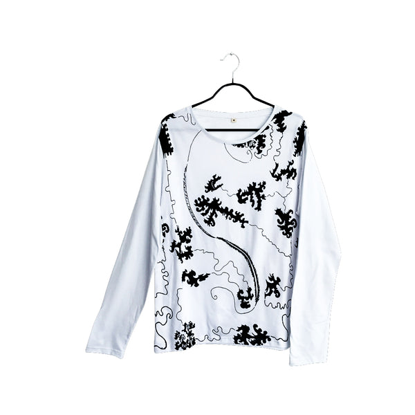 The Path- Artistic Design white lux Long Sleeve Shirt for Men