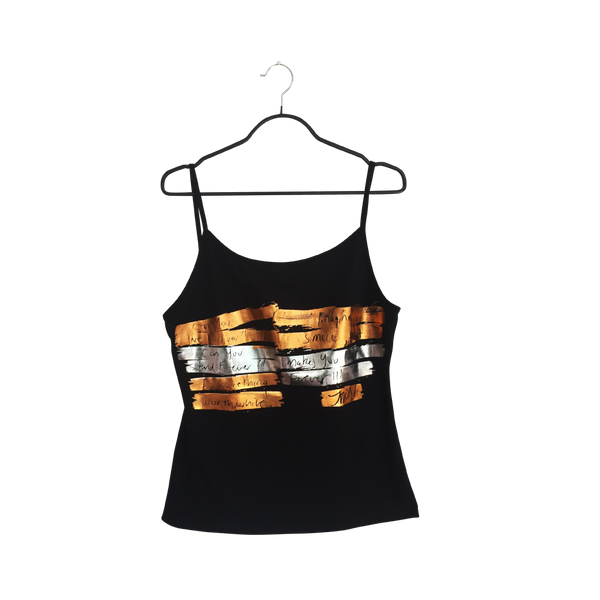 On time- Artistic Design black Tank Top for Women