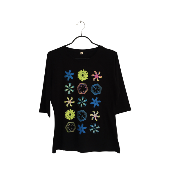 Kaleidoscope-  Artistic Design black Long Sleeve T Shirt for Women