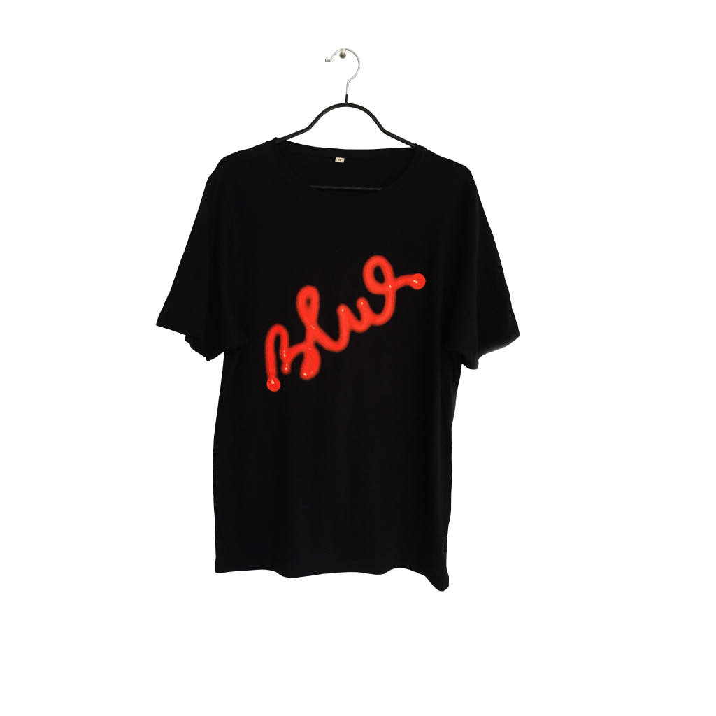 Blue in Red - Artistic Design black T Shirt for Men - pop art neon sculpture