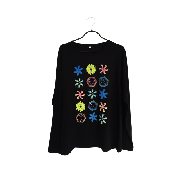 Kaleidoscope- Artistic Design Black Long Sleeve T Shirt for Men