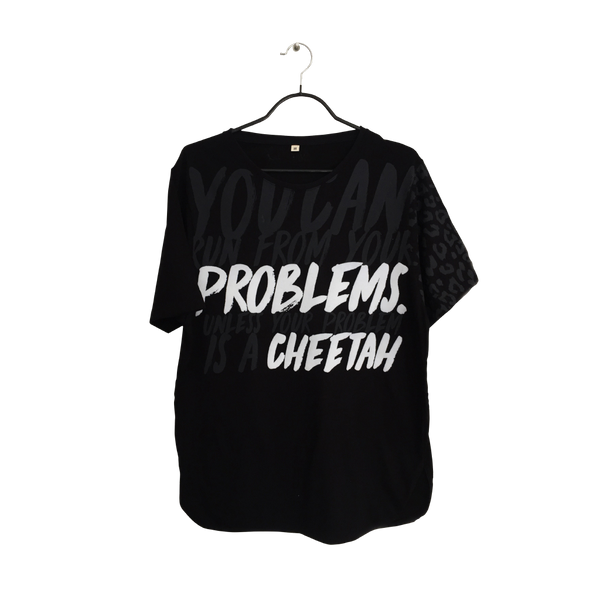 Cheetah- Fun Design Black T Shirt for Men cosmopolitan Copy writer