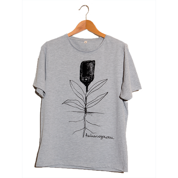 Halucinogeacea- Artistic Design gray flower T Shirt for Men