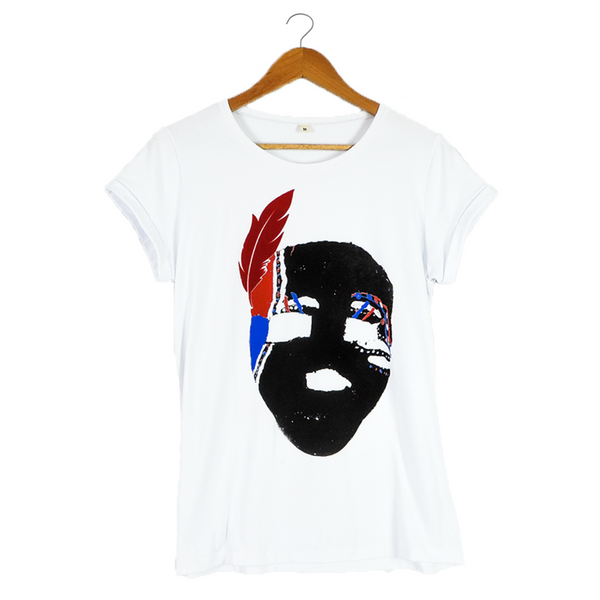 Mask by A Place Called Choco - Artistic White T-shirt for Women