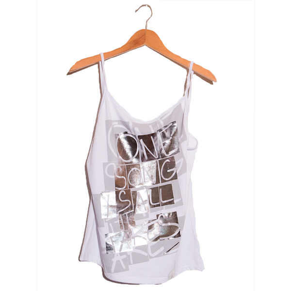 One Song- Artistic Design white Tank Top for Women