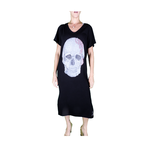Skull Dress by Daniela Duarte : Artistic Black Dress for Women