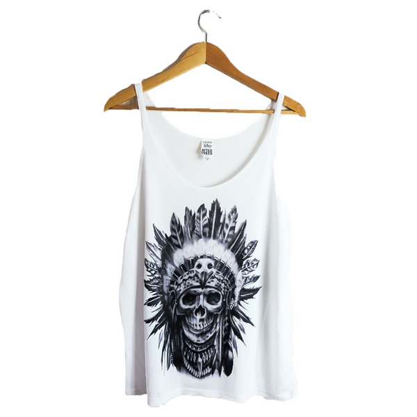 SKULL- Fashion white top for women by artist Junior Mondragon