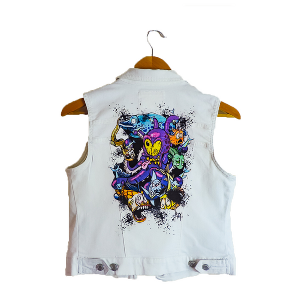 TATTOPUS- White Denim Vest for Women by artist Adam Nagy