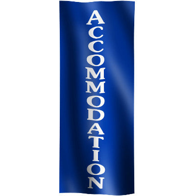 "Vertical Flag with Blue Background and white text ""Accommodation"""