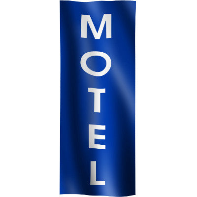 "Vertical Flag with Blue Background and white text ""Motel"""