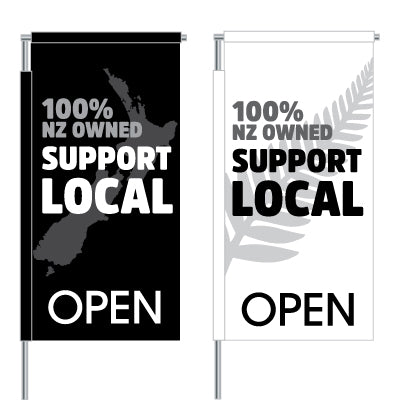 100% NZ Owned Support Local Vertical Flag