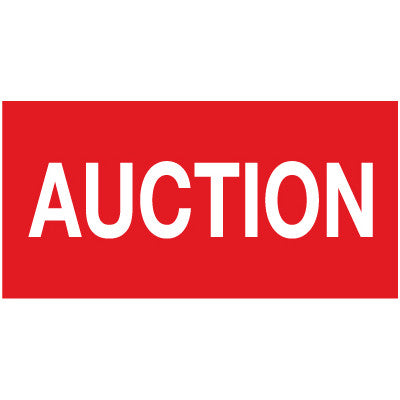"Horizontal Flag with Red Background and white text ""Auction"""
