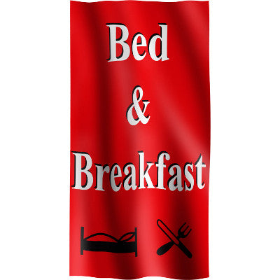 "Vertical Flag with Red Background, white letters with black outline ""Bed & Breakfast"" and symbols for bed and food"