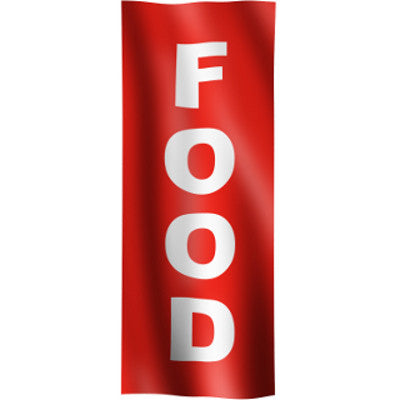"Vertical Flag with Red Background and white text ""Food"""