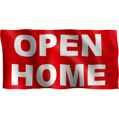 "Horizontal Flag with Red Background and white letters ""Open Home"""