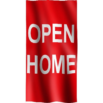 "Vertical Flag with Red Background and white letters ""Open Home"""