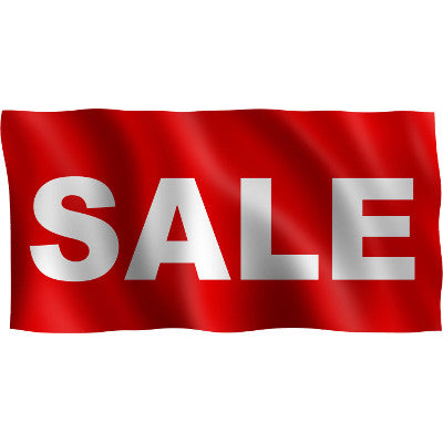 "Horizontal Flag with Red Background and white text ""Sale"""