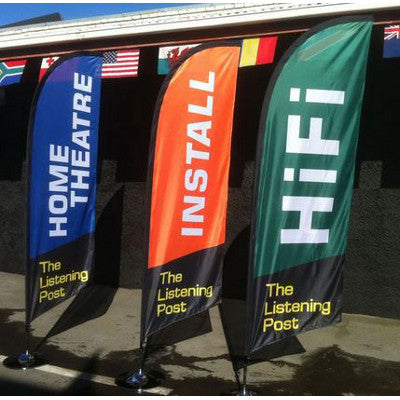 Custom Made Windblade Flags Three Examples in Blue, Orange and Green