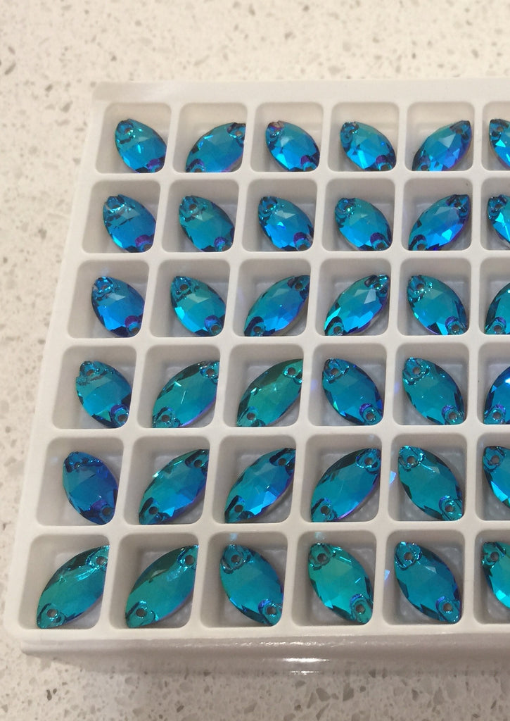 Navette, 12mm (Blue Zircon) Glass