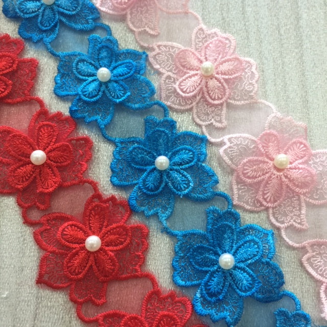 Embroidered Applique Trim, 3D Pearl Flowers (Style 2)