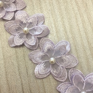 Embroidered Applique Trim, 3D Pearl Flowers ( Style 1)