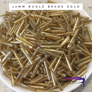 Bugle Beads 12mm - Gold