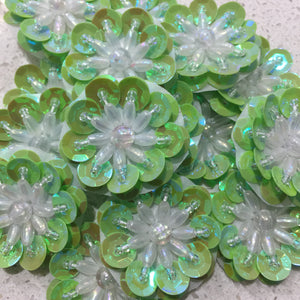 Soft Peridot Pearl - Sequin Flower 3.5cm
