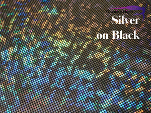 Silver on Black - Shattered Glass Hologram Spandex