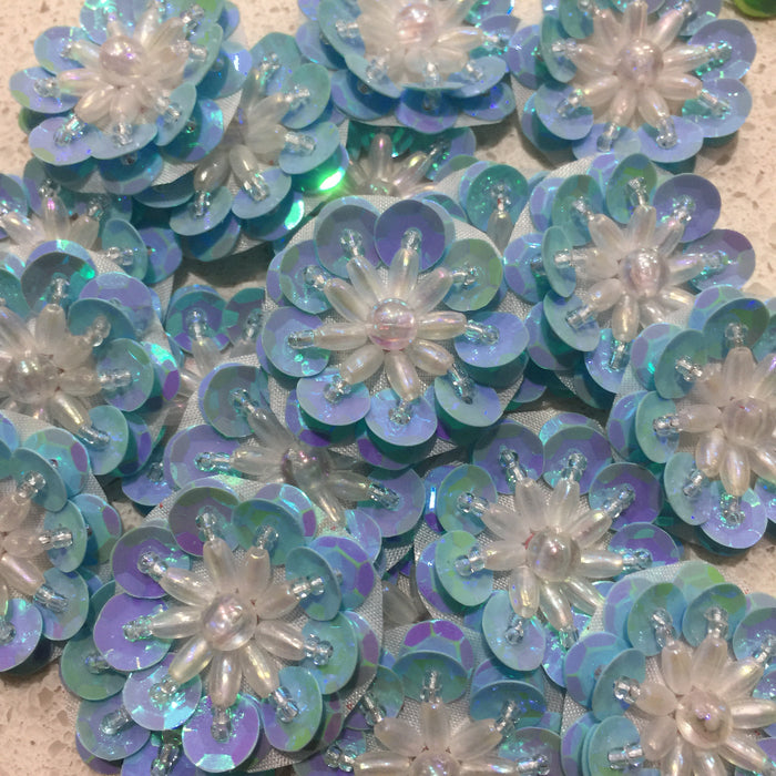 Baby Blue Pearl - Sequin Flower 3.5cm