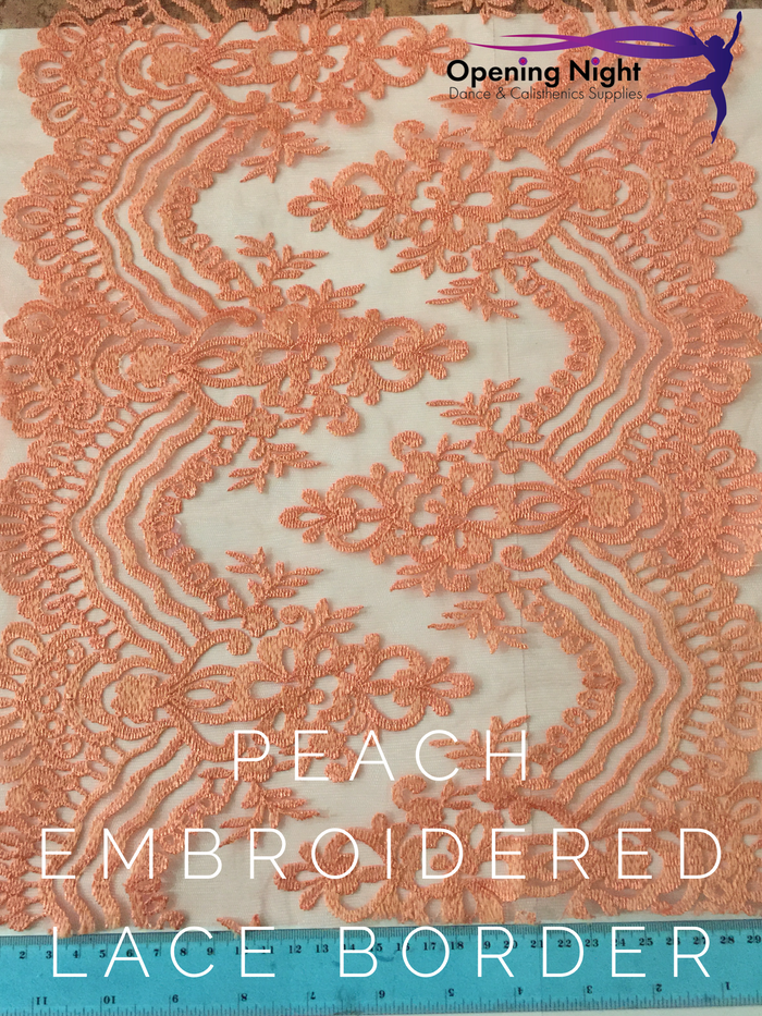 Peach Embroidered - Lace Border