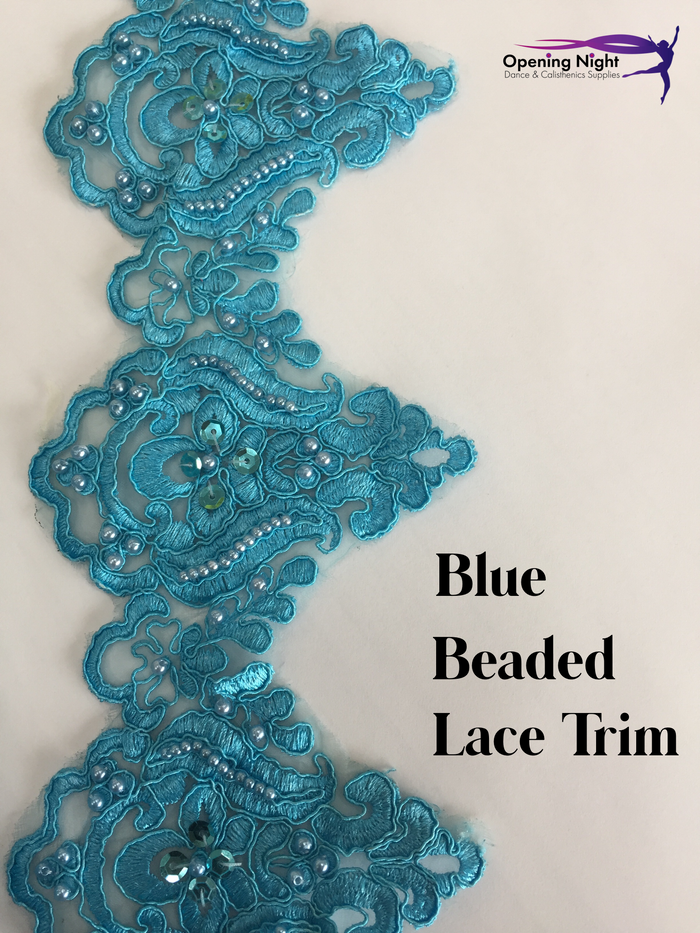 Blue - Beaded Lace Trim