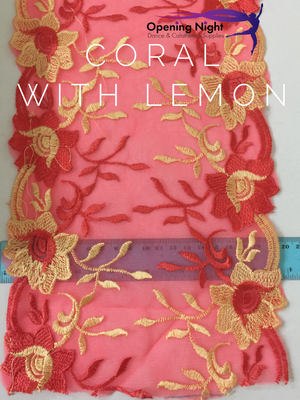 Coral with Lemon Flowers - Lace Border