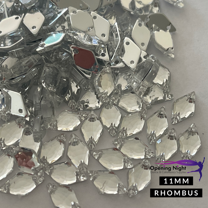 11mm, Rhombus - Clear