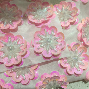 Soft Pink Pearl - Sequin Flower 3.5cm