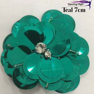 Teal - Sequin Flower 7cm
