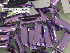 24mm, Long Rectangle - Light Purple