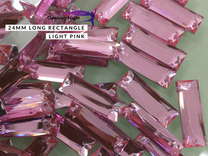 24mm, Long Rectangle - Light Pink