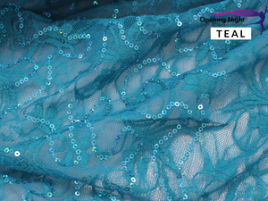 Teal - Floral Belle Sequin Stretch Lace