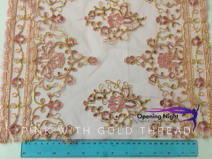Pink with Gold Thread Embroidered - Lace Border
