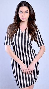 Marthena Mercier Black and White Vertical Stripes Albina Dress