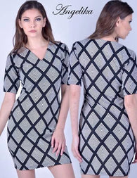 Marthena Mercier black and white print Angelika Dress