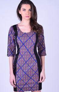 Marthena Mercier violet with black line on the edge print Autumn Dress