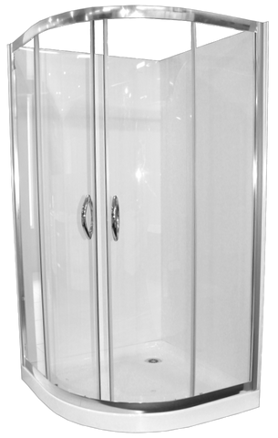 Curved Shower 1000mm Chrome Complete Set