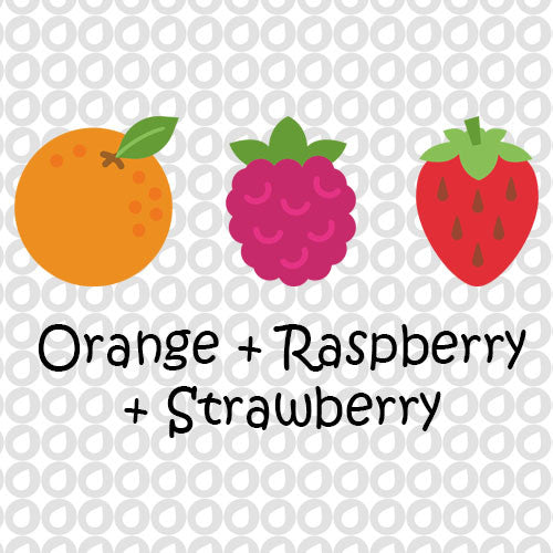 Orange, Raspberry, & Strawberry