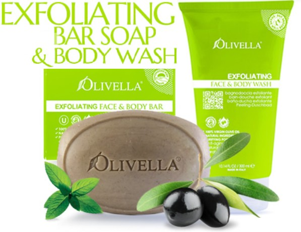 Olivella Ex-foliating Body Wash & Bar Soap Bundle - Greenhouse Marketing (My Natural Choice)
