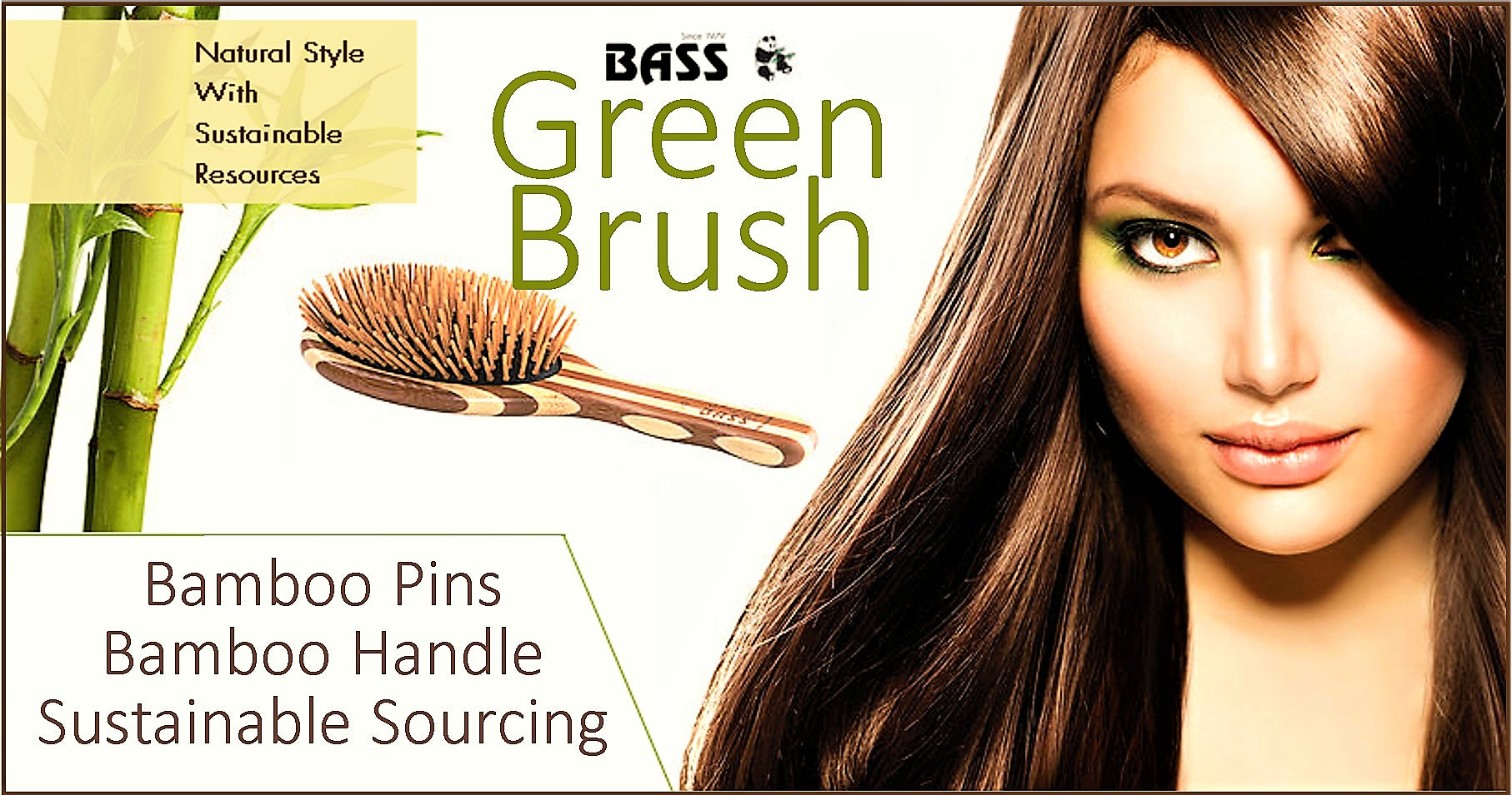 BASS 15 – SMALL OVAL HAIR BRUSH. BAMBOO BRISTLE - Greenhouse Marketing (My Natural Choice)