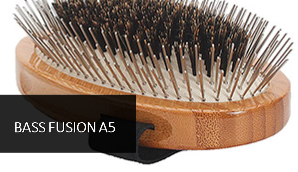 Bass Fusion A5 Palm Style Wire and Boar Bamboo Wood Handle Pet Groomer Brush - Greenhouse Marketing (My Natural Choice)